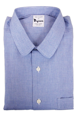 Blue Chambre Shirt, Rounded Collar, Regular Cuffs