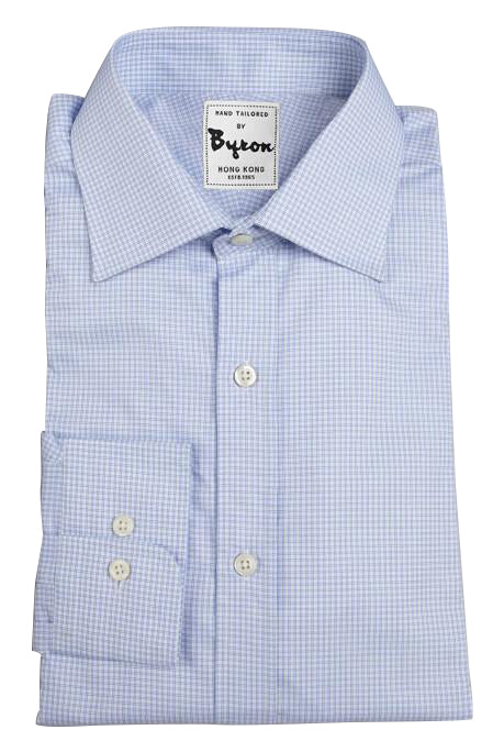 Blue Fine Check Shirt, English Spread Collar, Rounded Cuff