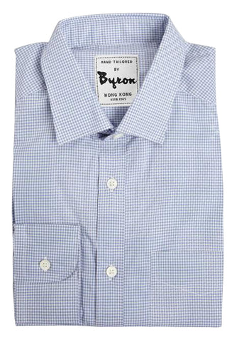 Blue Micro Check Shirt, English Spread Collar, Angled Cuff