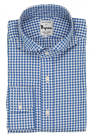 Blue Gingham Check Shirt with Wide Spread Collar