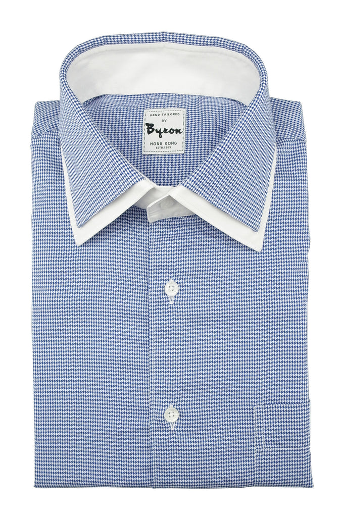 Blue Gingham Check with Double Collar and White Trim