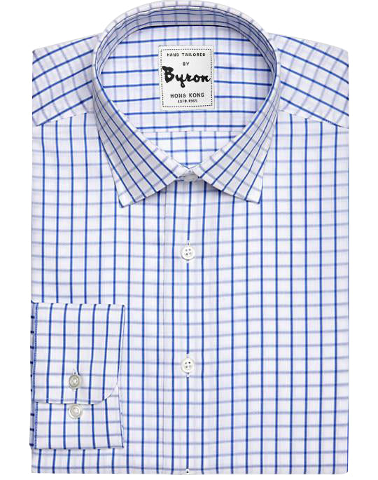 Blue Gingham Shirt Forward Point Collar Rounded Cuff