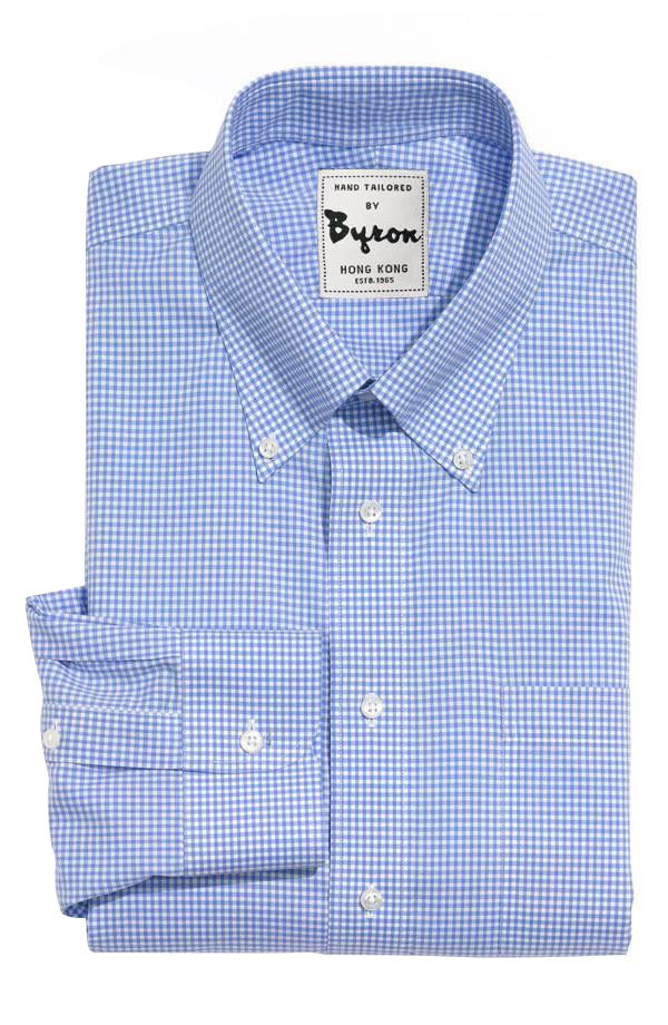 Blue Gingham Shirt, Button Down Collar, Angled Cuff