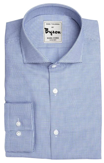 Blue Herringbone Check Shirt, English Spread Collar, Standard Cuff