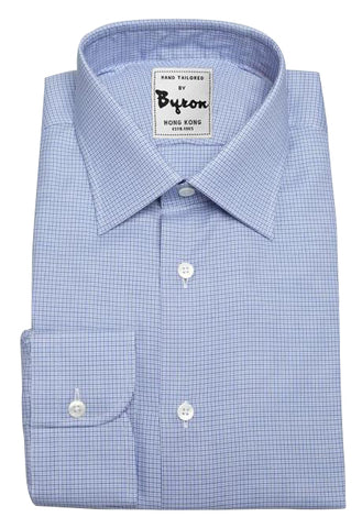 Blue Herringbone Micro Check, Forward Point collar, Rounded Cuff