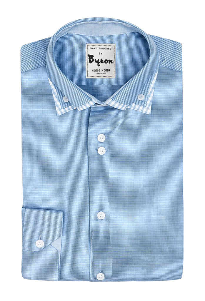 Blue Micro Check with Double Collar Shirt and Solid Lined Collar & Cuffs