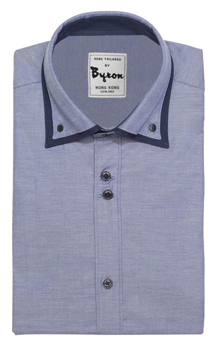 Blue Micro Step Shirt with Navy Trim Double Button Down Collar
