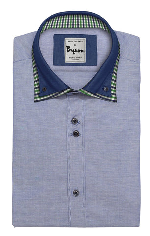 Blue Chambre Shirt with Blue check Button Down Collar