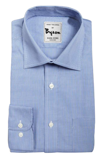 Blue Self Gingham Check Wide Spread Collar Shirt