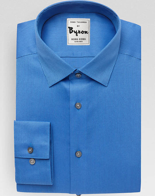 Blue Solid Shirt Forward Point Collar, Standard Cuff