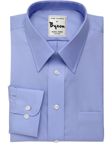 Medium Blue Solid Shirt, Forward Point Collar, Round Cuff