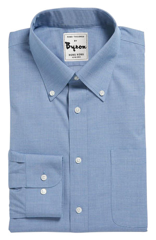 Ink Blue Solid Shirt , Button Down Collar, Round Cuff