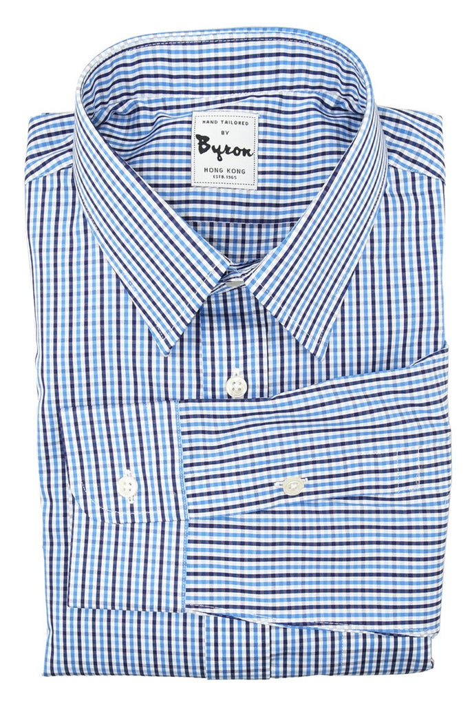 Blue and Brown Check Shirt, Forward Point collar, Standard Cuff