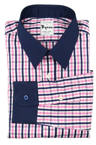 Blue and Light Pink Check shirt with Dark Blue Forward Point Collar and Rounded Cuff