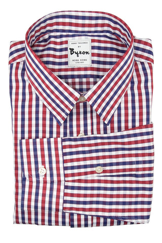 Blue and Red Check shirt, Forward Point collar, Round Cuff