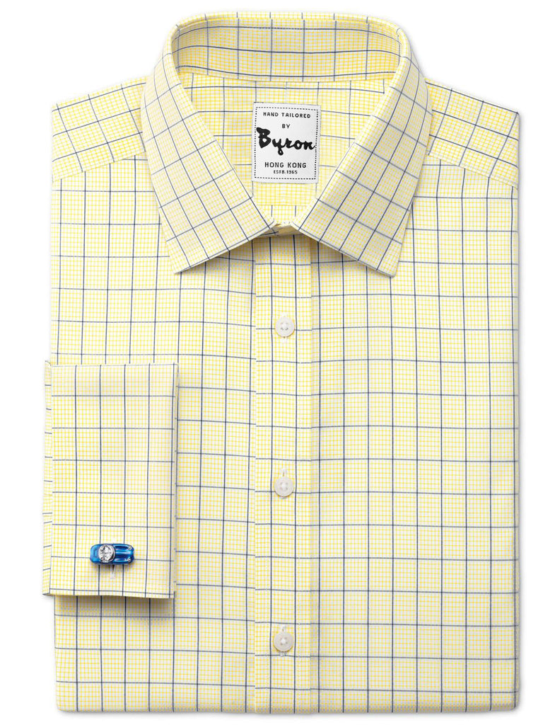 Blue and Yellow Check Shirt Medium Spread Collar French Cuff