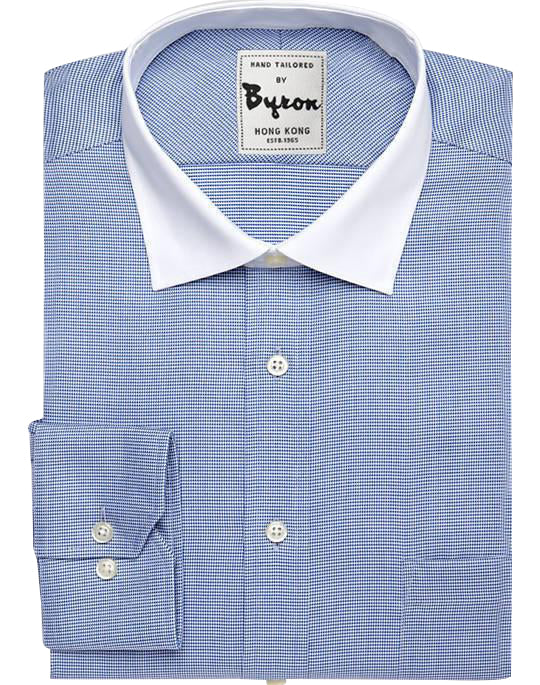 Blue on Blue Check with White Forward Point Collar , Angled Cuff