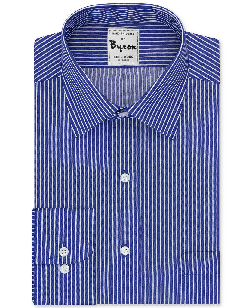 f1cee77e6bfb Blue and White Striped Shirt Forward Point Collar Round Cuff – byronshirts