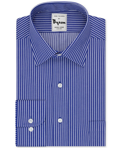 Blue and White Striped Shirt Forward Point Collar Rounded Cuff