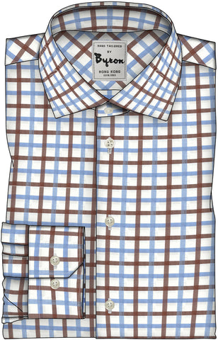 Brown & Light Blue Checks, Wide Spread Collar, Angle Cuffs