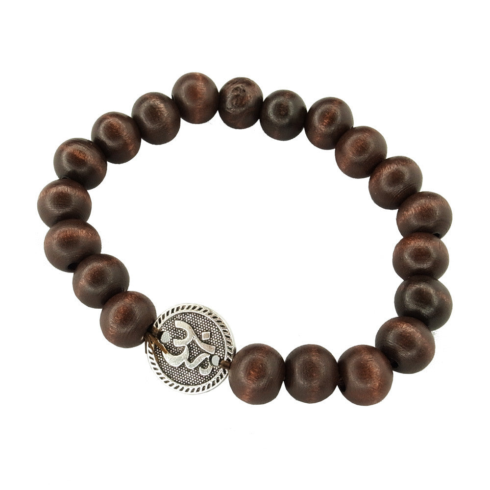 Brown Wooden Bead Bracelet with Charm