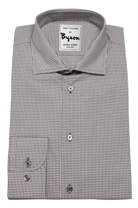 Charcoal Grey Micro Check Shirt, English Wide Spread Collar, Angled Cuff