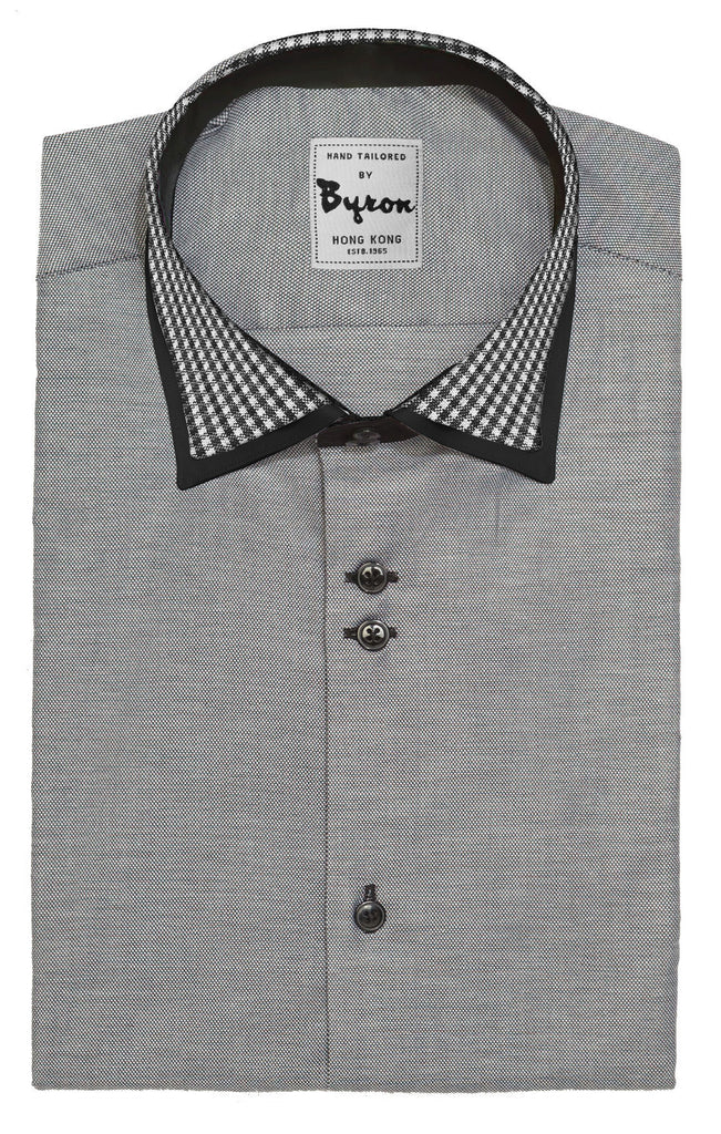 Charcoal Micro Step Shirt with Check Collar