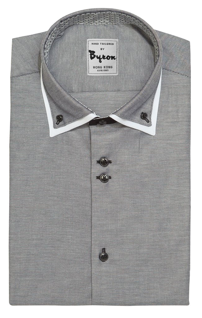 Charcoal Micro Step Shirt with White Trim Collar