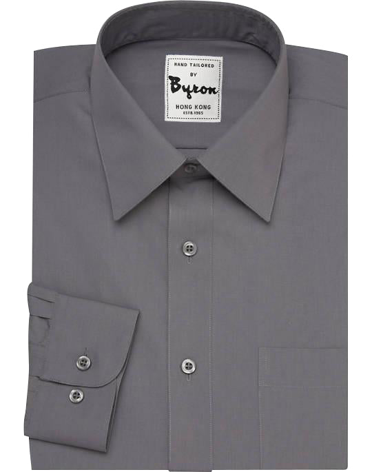 Charcoal Solid Shirt, Forward Point Collar, Rounded Cuff