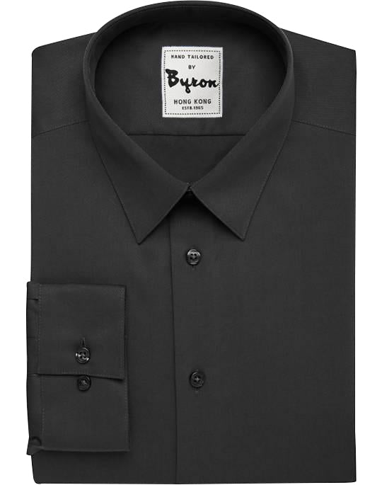 Dark Charcoal Solid Shirt, Narrow Forward Point Collar, Standard Cuff