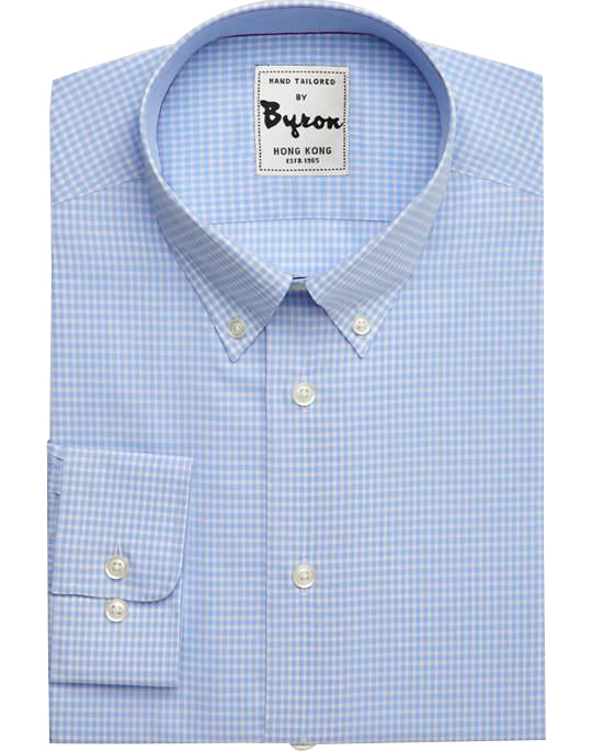 Light Blue Micro Check Shirt, Button Down Collar