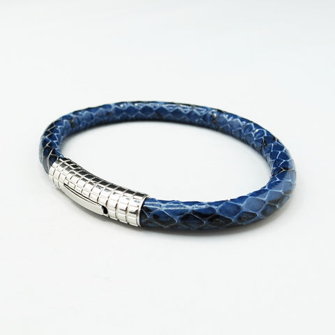 Dark Blue Python Skin with Silver Clasp