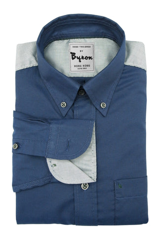 Denim Blue Micro Step Shirt with Light Grey Shoulder Panel and Trim
