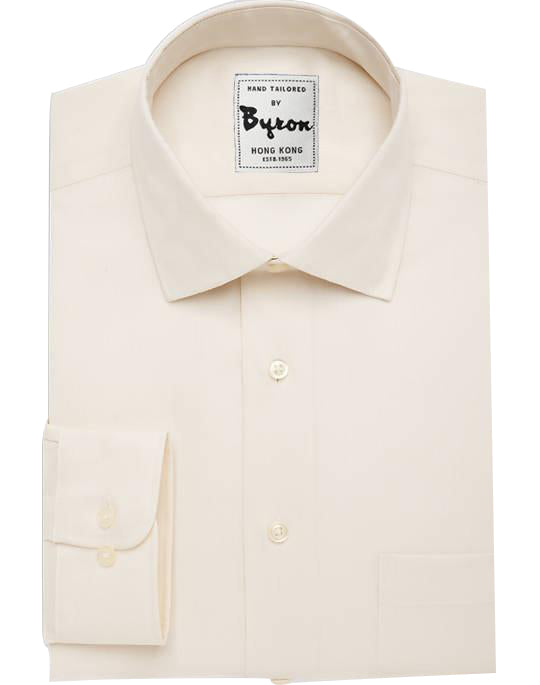 Ecru Solid Shirt, Forward Point Collar, Rounded Cuff