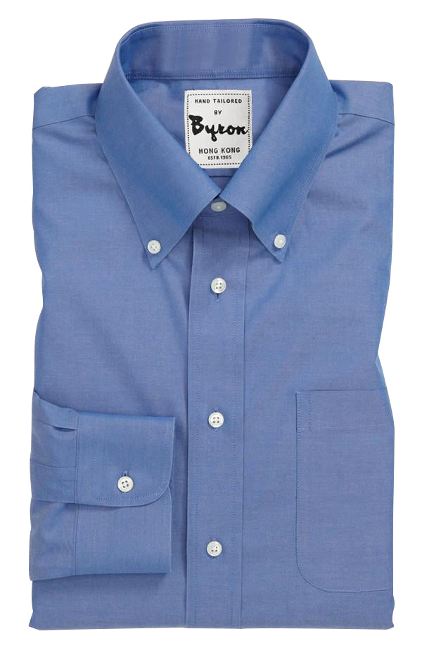 French Blue Solid Shirt, Button Down Collar, Rounded Cuff