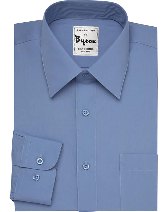 Blue Solid Shirt, Forward Point Collar, Round Cuff