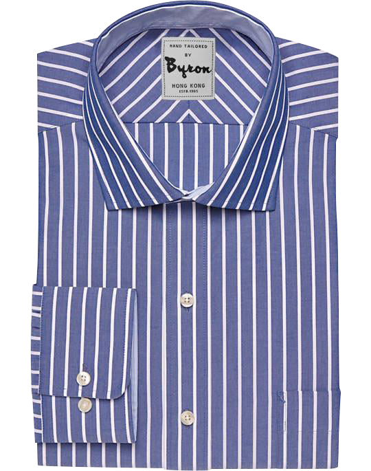 French Blue And White Striped Shirt English Spread Collar Round Cuff