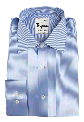 Lt Blue Striped Shirt, Medium Spread Collar, Rounded Cuff