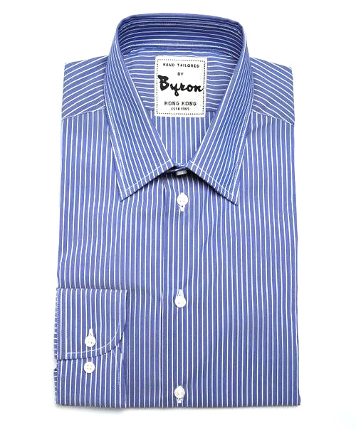 French Blue and White Thin Striped Shirt