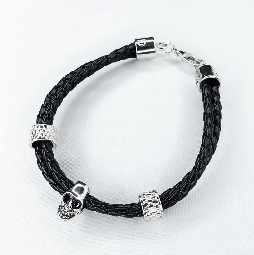 Genuine Leather Bracelet with Skull
