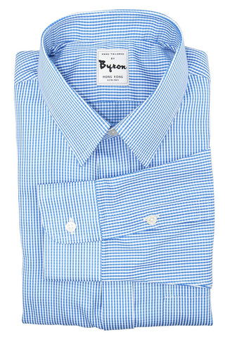 Blue Micro Gingham Check Shirt, Forward Point Collar, Round Cuff