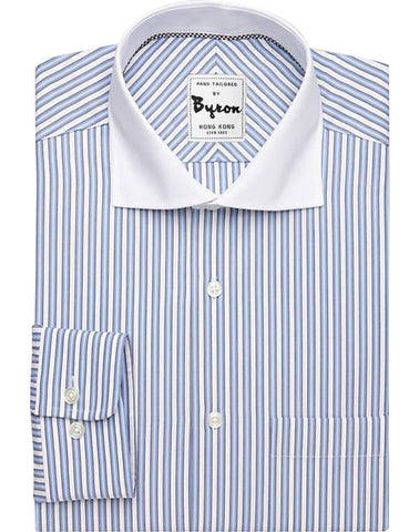 Gradient Blue X White Striped Shirt White Medium Spread Collar Rounded Cuff