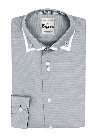 Grey Micro Check with White Piped Collar Shirt