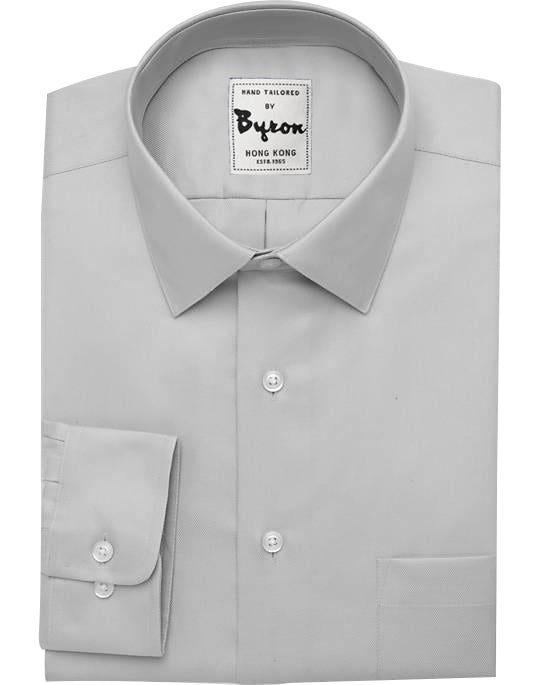 Light Grey Shirt, Forward Point Collar, Rounded Cuff