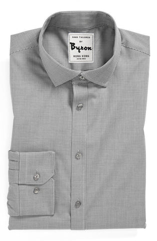 Grey on Grey Micro Check Shirt, English Wide Spread Collar
