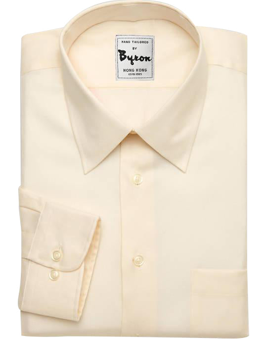 Ivory Solid Shirt, Forward Point Collar, Round Cuff