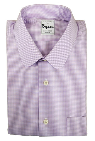 Lavender Micro Check Shirt, Rounder Collar, Standard Cuff