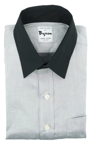 Light Grey Shirt with Black Forward Point Collar and Black Standard Cuff