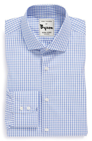 Lt. Blue Gingham Check Shirt, English Spread Collar, 2 button Angled Cuff