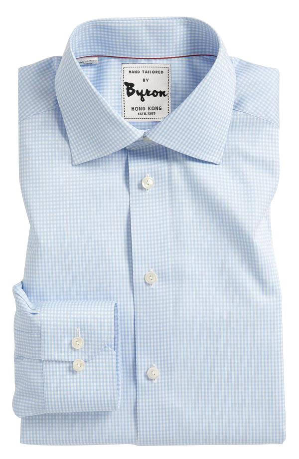 Light Blue Gingham Check Shirt, English Spread Collar, Rounded Cuff